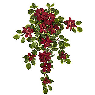 """Christmas 30"""" Poinsettia and Variegated Holly Artificial Plant (Set of 2) (Real Touch), , large"""