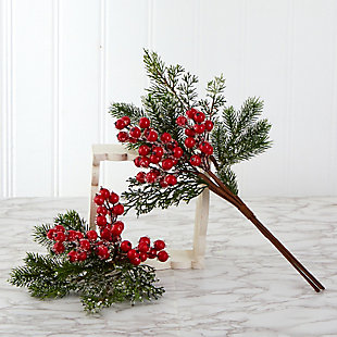 "Christmas 20"" Iced Pine and Berries Artificial Plant (Set of 6), , rollover"
