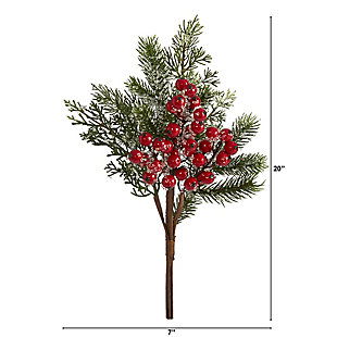 """Christmas 20"""" Iced Pine and Berries Artificial Plant (Set of 6), , large"""