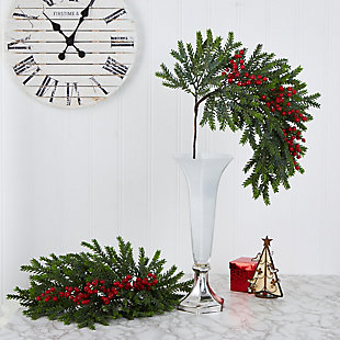"Christmas 34"" Pine and Berries Artificial Hanging Plant (Set of 3), , rollover"