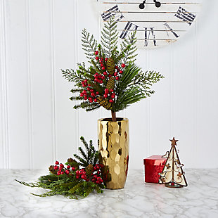 """Christmas 26"""" Mixed Pine, Pinecone and Berry Artificial Plant (Set of 3), , rollover"""