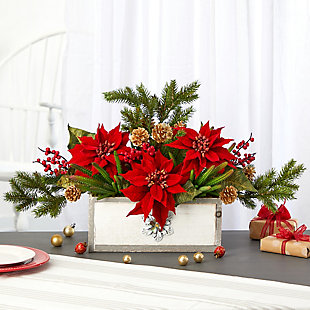 "Christmas 28"" Poinsettia and Cactus Artificial Arrangement in Decorative Wood Vase, , rollover"