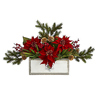 "Christmas 28"" Poinsettia and Cactus Artificial Arrangement in Decorative Wood Vase, , large"
