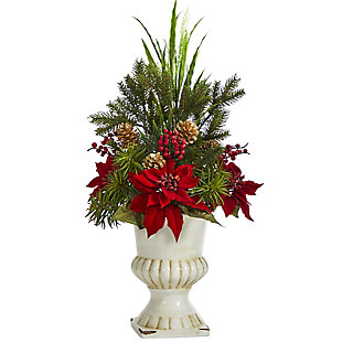 "Christmas 28"" Poinsettia, Grass and Succulent Artificial Arrangement in White Urn, , large"