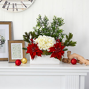 """Christmas 22"""" Poinsettia, Hydrangea and Boxwood Artificial Arrangement in White Vase, , rollover"""