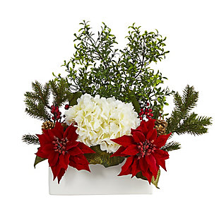 """Christmas 22"""" Poinsettia, Hydrangea and Boxwood Artificial Arrangement in White Vase, , large"""