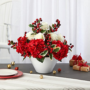 "Christmas 17"" Rose, Hydrangea and Holly Berry Artificial Arrangement in White Vase, , rollover"