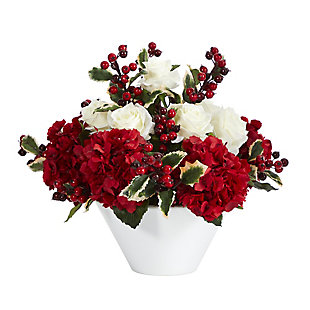 "Christmas 17"" Rose, Hydrangea and Holly Berry Artificial Arrangement in White Vase, , large"
