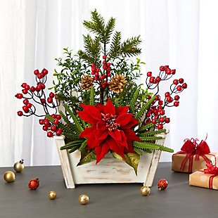 "Christmas 18"" Poinsettia, Succulent and Berry Artificial Arrangement in Bench Planter, , rollover"
