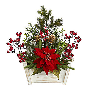 "Christmas 18"" Poinsettia, Succulent and Berry Artificial Arrangement in Bench Planter, , large"