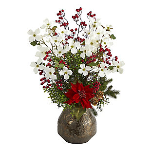"Christmas 31"" Poinsettia, Dogwood and Berry Artificial Arrangement in Designer Vase, , large"