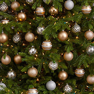 Christmas Holiday Shatterproof, 64 Count Christmas Tree Ornament Set, 80mm with Re-Useable Box, , rollover