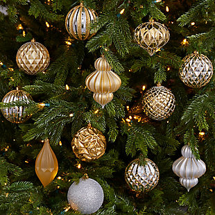 Christmas Holiday Lux Shatterproof, 12 Count Christmas Tree Ornament Set, 100mm with Re-Useable Box, , rollover