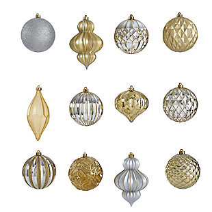 Christmas Holiday Lux Shatterproof, 12 Count Christmas Tree Ornament Set, 100mm with Re-Useable Box, , large