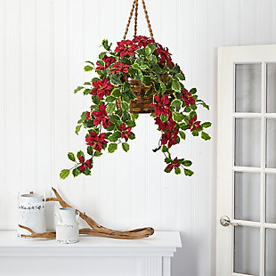 Christmas 3.5' Poinsettia and Variegated Holly Artificial Plant in Hanging Basket (Real Touch), , rollover