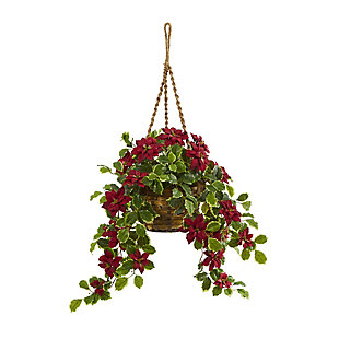 Christmas 3.5' Poinsettia and Variegated Holly Artificial Plant in Hanging Basket (Real Touch), , large