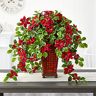 """Christmas 25"""" Poinsettia and Variegated Holly Artificial Plant in Planter (Real Touch), , rollover"""