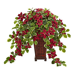 """Christmas 25"""" Poinsettia and Variegated Holly Artificial Plant in Planter (Real Touch), , large"""
