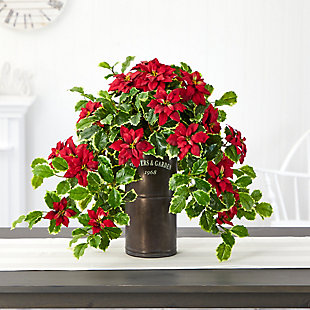 """Christmas 21"""" Poinsettia and Variegated Holly Artificial Plant in Decorative Planter (Real Touch), , rollover"""