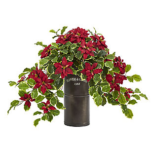 """Christmas 21"""" Poinsettia and Variegated Holly Artificial Plant in Decorative Planter (Real Touch), , large"""