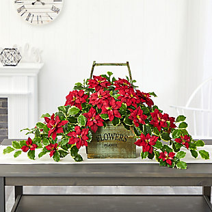 "Christmas 18"" Poinsettia and Variegated Holly Artificial Plant in Vintage Decorative Basket (Real Touch), , rollover"
