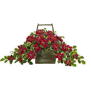 "Christmas 18"" Poinsettia and Variegated Holly Artificial Plant in Vintage Decorative Basket (Real Touch), , large"