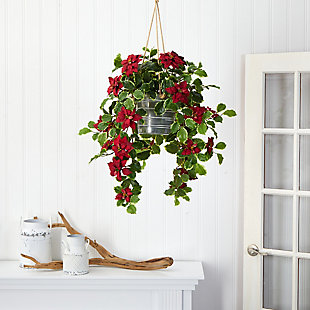 Christmas 3.5' Poinsettia and Variegated Holly Artificial Plant in Hanging Metal Bucket (Real Touch), , rollover