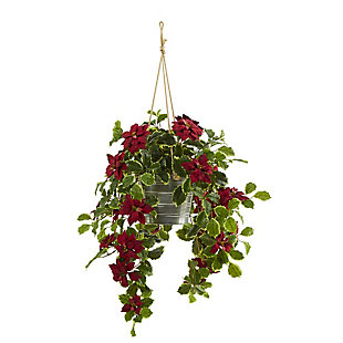 Christmas 3.5' Poinsettia and Variegated Holly Artificial Plant in Hanging Metal Bucket (Real Touch), , large