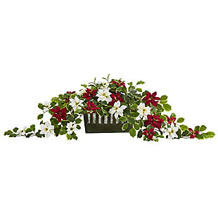 "Sterling 39"" Poinsettia and Variegated Holly Artificial Plant in Decorative Planter (Real Touch), , large"