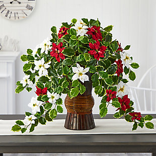 "Sterling 22.5"" Poinsettia and Holly Artificial Plant in Decorative Planter (Real Touch), , rollover"