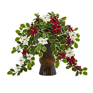 "Sterling 22.5"" Poinsettia and Holly Artificial Plant in Decorative Planter (Real Touch), , large"