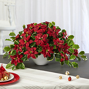 """Sterling 20"""" Poinsettia and Variegated Holly Artificial Plant in Oval White Planter (Real Touch), , rollover"""