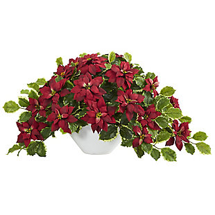 """Sterling 20"""" Poinsettia and Variegated Holly Artificial Plant in Oval White Planter (Real Touch), , large"""