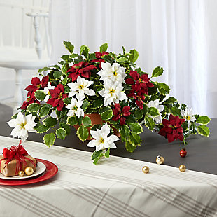 """Sterling 26"""" Poinsettia and Variegated Holly Artificial Plant in Terra-Cotta Planter (Real Touch), , rollover"""