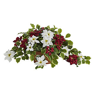 """Sterling 26"""" Poinsettia and Variegated Holly Artificial Plant in Terra-Cotta Planter (Real Touch), , large"""