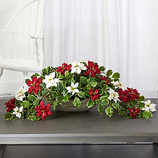 """Sterling 33"""" Poinsettia and Variegated Holly Artificial Plant in Planter (Real Touch), , rollover"""