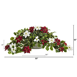 """Sterling 33"""" Poinsettia and Variegated Holly Artificial Plant in Planter (Real Touch), , large"""