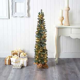Sterling 4' Green Pine Artificial Christmas Tree with 70 Warm White Lights Set in a Burlap Base, , rollover