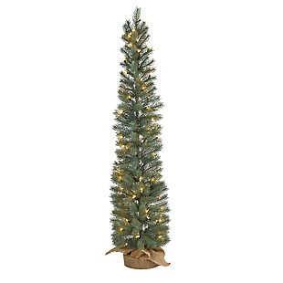 Sterling 4' Green Pine Artificial Christmas Tree with 70 Warm White Lights Set in a Burlap Base, , large
