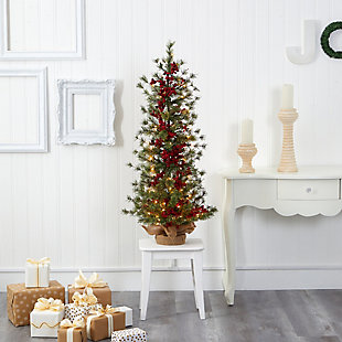 Sterling 4' Berry and Pine Artificial Christmas Tree with 100 Warm White Lights and Burlap Wrapped Base, , rollover