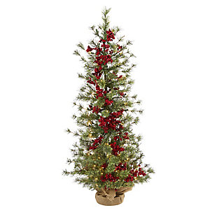 Sterling 4' Berry and Pine Artificial Christmas Tree with 100 Warm White Lights and Burlap Wrapped Base, , large