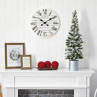 Sterling 3' Flocked Christmas Artificial Pine Tree in Tin Planter, , rollover