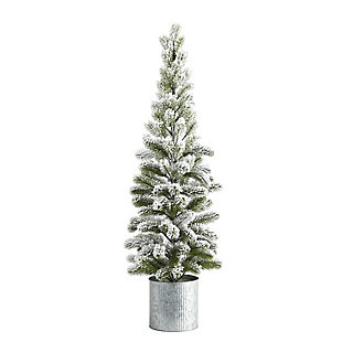 Sterling 3' Flocked Christmas Artificial Pine Tree in Tin Planter, , large