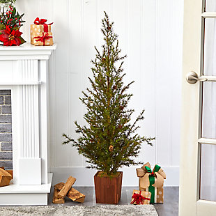 "Sterling 4' Alpine ""Natural Look"" Artificial Christmas Tree in Wood Planter with Pine Cones, , rollover"