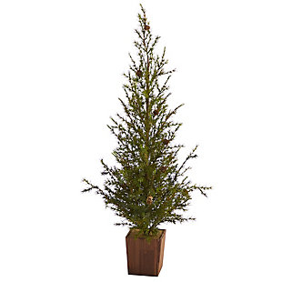 "Sterling 4' Alpine ""Natural Look"" Artificial Christmas Tree in Wood Planter with Pine Cones, , large"