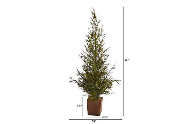 """Sterling 4' Alpine """"Natural Look"""" Artificial Christmas Tree in Wood Planter with Pine Cones, , large"""