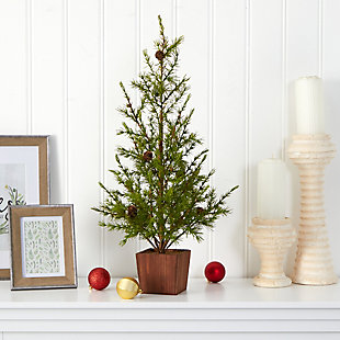"Sterling 28"" Alpine ""Natural Look"" Artificial Christmas Tree in Wood Planter with Pine Cones, , rollover"