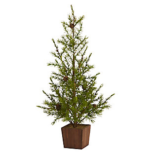 "Sterling 28"" Alpine ""Natural Look"" Artificial Christmas Tree in Wood Planter with Pine Cones, , large"