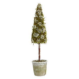 Sterling 2' Flocked Moss Artificial Cone Tree in Decorative Planter, , large