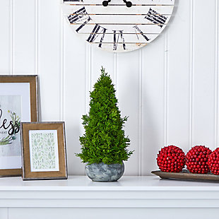 "Sterling 18"" Cypress Cone Artificial Tree in Decorative Planter, , rollover"